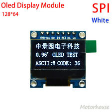 "DC 3.3v 5v  White 0.96"" SPI Serial 128X64 OLED LCD Display Module for Arduino"