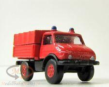 IMU 12075 Mercedes Feuerwehr-Unimog mit Pritsche/Plane Metall Spur N 1:160 - OVP