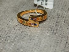 MULTI GEM SAPPHIRE CROSSOVER CONTEMPORARY RING-SIZE M-0.750CTS-WITH 14K GOLD