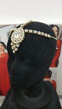 GOLD DIAMANTE INDIAN BOLLYWOOD MATHA PATTI HEAD CHAIN HEADPIECE TIKKA -1