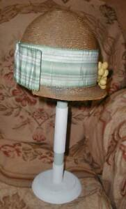 1920s Straw Cloche Flapper Hat w Green Silk Ribbon & Berries for Young Girl
