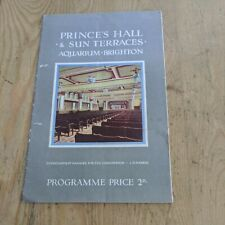 More details for 1919 brighton prince hall sun terraces aquarium programme roosters concert party