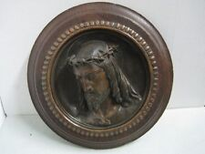 Antique wall plaque in wood and metal Religious Jesus Christ