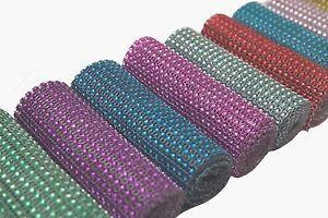 1 yard diamante rhinestone effect mesh ribbon trim 24 row trimming 10 colours