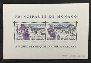 MONACO # 1620.  1988 WINTER OLYMPICS, CALGARY. SOUVENIR SHEET. MNH