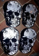 SET OF 4 NEW BLACK & SILVER METALLIC MELAMINE SKULL SHAPED PLATES DISHES