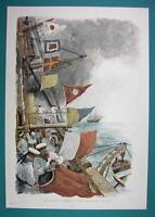 NEW YEAR at Sea Flags Signals Ship Sailors - COLOR VICTORIAN Era Print