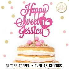 Sweet 16 sixteen cake topper, customised any name, custom glitter personalised