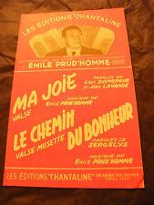 Partition Ma joie Valse Prud'homme Le chemin du bonheur 1954