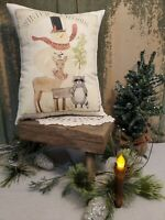 PRIMITIVE VINTAGE FOLK ART CABIN FARM CHRISTMAS WINTER IN WOODS SNOWMAN PILLOW