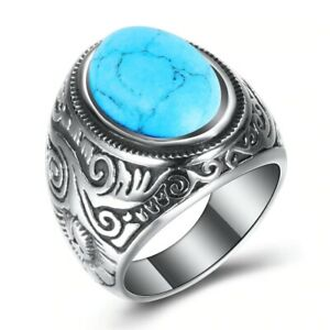 Vintage Men's Oval Manmade Turquoise Ring Stainless Steel  Antique Ring Size7-15