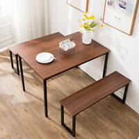 3 Piece Rectangular Dining Table Set 2 Bench Chairs Kitchen Room Furniture Brown