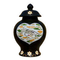 Vintage Chinese Small Black Porcelain Crane Bird Motif Urn Jar w/ Lid