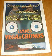 ancien catalogue automobile annee 20 lampe vega & cronos depliant publicitaire