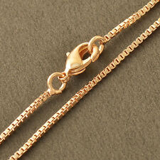 23 inch Long Womens Mens Hip Hop Jewelry 18K Rose Gold Filled Box Chain Necklace