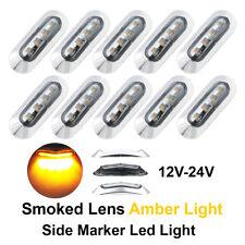 10x Smoked Lens Amber 4 LED Clearance Lamp 10-30V Trailer Side Marker Rear Light