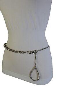 Women Silver Metal Narrow Chain Trendy Fashion Belt Big Drop Charm Buckle XS S M