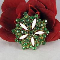 Vintage Emerald Green Rhinestone Brooch Pin CAT RESCUE