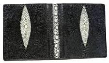 Black Stingray Bifold Long Wallet, Genuine Stingray Leather Pearl Design Wallet