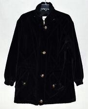 John Weitz Black Cotton Velvet Womens Jacket with Zipper + Button Clasp Size XS