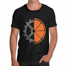 Men's Cogwheel Orange Clockwork Movie Graphic Cotton T-Shirt