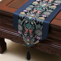Table runner tablecloth damask Chinese traditional dark blue fine facial makeup