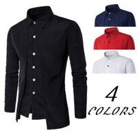 Fashion Mens' Botton Down Long-Sleeve Casual Shirts Slim  Two Dress Shirts