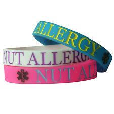 NUT ALLERGY ALERT MEDICAL wristband silicone bracelet bangle gift AWARENESS