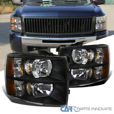 For 07-14 Chevy Silverado 1500 2500 3500 Pickup Black Headlights Head Lamps