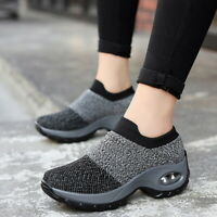 Women Sport Air Cushion Sneakers  Mesh Walking Slip On Running Shoes