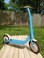 Vintage Western Flyer Scooter - Blue Painted and foot brake