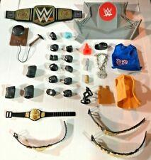 WWE WWF Wrestling Figure Accessory Set Championship Belts Pads