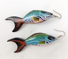 Painted Wood Fish Drop Dangle Pierced Earrings