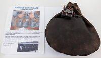 .RARE 1800s INDIAN GOVERNMENT NORTHERN RAILWAYS GUARDS LOCKABLE LEATHER BAG+COA