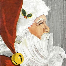4x Paper Napkins - Yuletide Santa Wood - for Party, Decoupage Craft