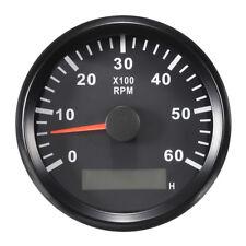 Boat RPM Meter Tachometer Hourmeter 0-6000 RPM 85mm Black 12v 24v