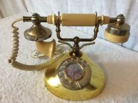 VINTAGE GOLD FRENCH PRINCESS STYLE ROTARY DIAL TELEPHONE W/ CASTLE IMAGE. RARE!
