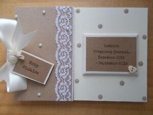 Personalised Vintage Pregnancy Journal Memory Scrapbook Photo Album Gift