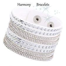 White Swarovski Elements Chain Cuff Bracelet by Harmony Bracelets