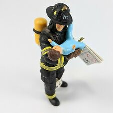 Papo 1/18 Scale Fireman Figure With Baby FireFighter Diorama Accessory 70008