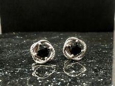 David Yurman 925 Sterling Silver 7mm Black Onyx Infinity Stud Earrings