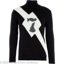 JOHN RICHMOND X Black Chunky Knitted Wool Jumper UK40 IT50 LARGE BRAND NEW
