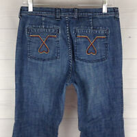 London Jeans Womens Size 8 Stretch Blue Med Wash Mid Rise Cuffed Bootcut Trouser