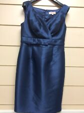 Cabotine Donna By Gema Nicolas Blue Sleeveless Satin Shift Dress Size 44 (wear8)