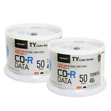 100 Pack HiDisc CD-R Taiyo Yuden TY Code White Inkjet Hub Printable Blank Disc