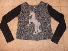 Bethany Mota Unicorn Sweater Gray White Long Sleeve Size Extra Small