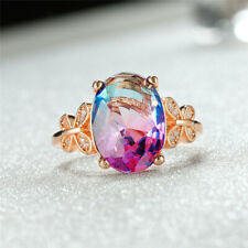 925 Silver/Rose Gold Oval Cut Tourmaline Rings Wedding Butterfly Rings Jewelry