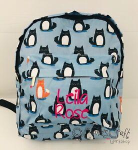 Personalised Blue Cat Backpack for children, School Bag, Nursery, Kids