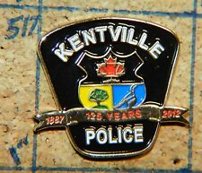 "CANADA KENTVILLE POLICE 125 YEARS 2012 NOVA SCOTIA GOLDTONE 7/8"" METAL LAPEL PIN"