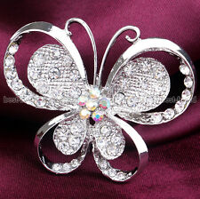 """Silver BUTTERFLY LARGE 2.2"""" DIAMANTE CRYSTAL BROOCH WEDDING BRIDAL PARTY BROACH"""